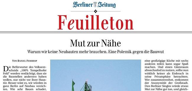 Ausschnitt Artikel Berliner Zeitung