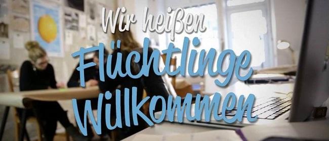 """Logo """"Flüchtlinge willkommen"""""""