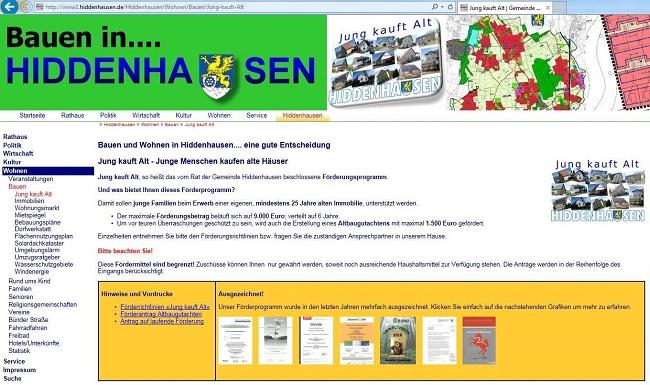 Screenshot Webseite Hiddenhausen