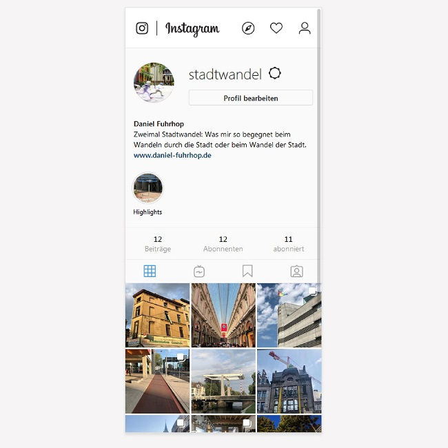 Screenshot Stadtwandel auf Instagram
