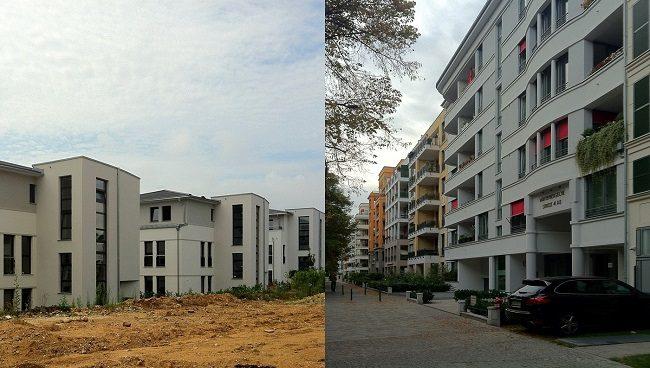 Fotocollage vor und in den Städten Neubau