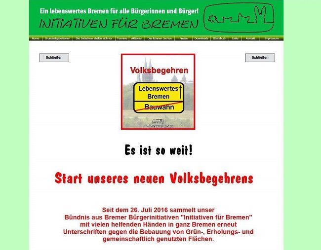 Screenshot Bürgerinitiativen