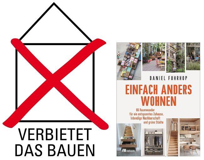 Bauverbot-Logo und Buchcover