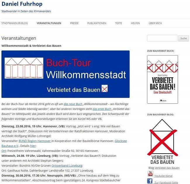 Screenshot Webseite Veranstaltungen