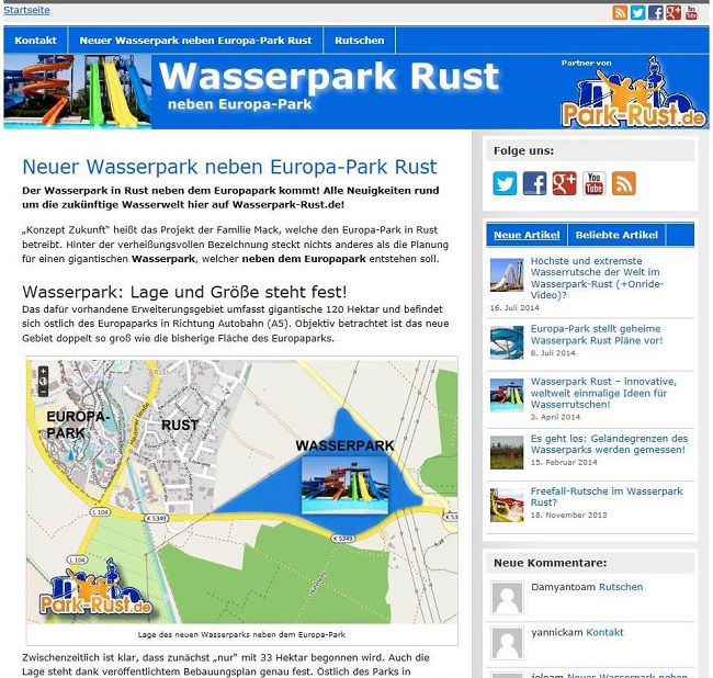Screen Webseite Wasserpark Europa Park Rust
